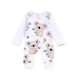 2019 macacão de urso bebê Bebé infantil que roupa da menina Urso de Koala dos desenhos animados Imprimir Romper Jumpsuit Macacões Outfits Onesies Outono desconto macacão de urso bebê