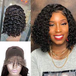 pelucas del cordón del pelo indio negro burdeos Rebajas Indian Raw Virgin Hair Mink Bob Peluca Delantera Del Cordón Onda Profunda Rizado Rizado Corto Bob Lace Peluca Delantera Del Cabello Humano 8-18 pulgadas