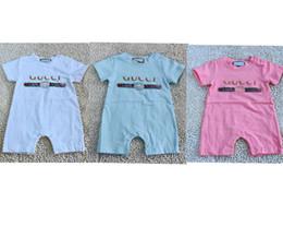 Vestiti neonati per l'estate online-Summer Baby Boy Pagliaccetto manica corta in cotone infantile tuta Cartoon stampato Baby Girl Pagliaccetti Neonato vestiti 3 colori