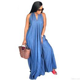 Vestido de bolsillo de mezclilla online-Venta al por mayor envío libre exótico diseñador Halter Casual mujeres Denim Jean sólido halter bolsillo sin mangas sin espalda suelta Maxi vestido 3XL Vestido