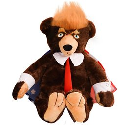 Donald Trump Doll Bears Large Size Teddy Bear USA Bandiera Nazionale Peluche Cravatta Decorare il giorno di Natale Regalo Marrone 49as C1 da