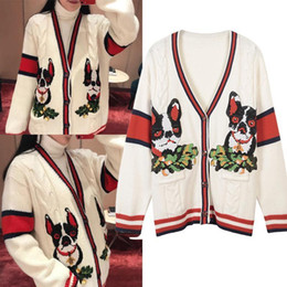 Frühling Herbst Frauen Strickwaren Rot Schwarz Stereo Twist Strickjacke Reis Weiß Welpen Stickerei Strickpullover Mantel