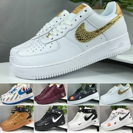 Großhandel 2019 Nike Air Force 1 Flyknit Utility Forced Fashion KORK Mens Women One 1 Laufschuhe Hoch Low Cut Alle Weiß Schwarz Braun Farbe Casual