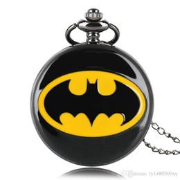 collane di batman Sconti Superhero Fashion Black Batman Orologio da tasca al quarzo Collana a catena Casual Numero romano Smooth Jewelry Pendente Regali di lusso per uomo Donna Bambini