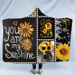 musterebene Rabatt Neue Sonnenblume-mit Kapuze Decke 3D Druckmuster-Plüsch-Wurfs-Decke Sofa / Bett / Flugzeug-Spielraum-Bettwäsche in der Kappe warm 150 * 200cm