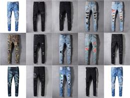 Wholesale 14 Diseños de marca AMI Jeans Pantalones de diseñador de ropa Off Road Panther Soldado negro Hombre Denim delgado Biker Hole Hip Hop Jeans hombres