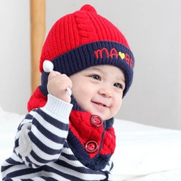 0-3 años de diseñador Bebé Sombrero Bebé Recién Nacido Sombreros + Anillo 2  unids   set Infantil bufanda Bebé Niñas Gorras Niño Sombreros Niño de punto  ... d22c8922d5a