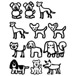 decalques da família para carros Desconto 12 Vara Família Cães Dos Desenhos Animados Vinyl Decal Moda Clássica Janela Decorativa Adesivos de Carro Preto / Sliver C6-1528