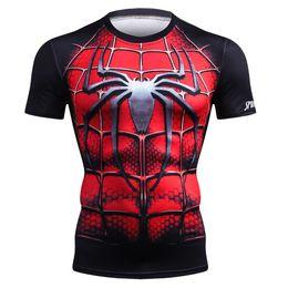 Roupa de aranha on-line-Camisa de fitness homens sportswear correndo t shirt esporte ginásio t shirt avenger 3 super hero spider man tops crossfit cosplay clothing