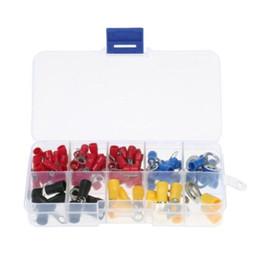 102PCS 10 tipi di kit di connettori a crimpare per terminali ad anello elettrico RV con scatola Cavo di rame Cavo isolato Terminale estremità perno da