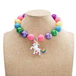 Deutschland Kinder Schmuck Anhänger klumpige Halsketten-Kind-Mädchen-Einhorn Schmuck Kleinkind-Karikatur Acryl-Ketten-Halskette Versorgung