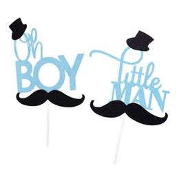 Desenhos animados do bigode on-line-Cartoon bigode brilho oh boy / little man bolo topper decoração do bolo de aniversário do chuveiro de bebê crianças festa de aniversário favor suprimentos