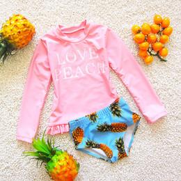 Costumi da bagno per bambini Top a maniche lunghe per bambina + Pantaloncini con stampa ananas 2019 Costume da bagno per bambini bikini estivo 2019 da