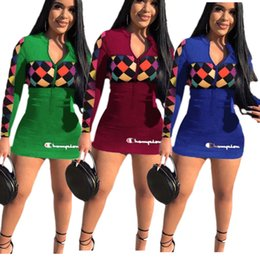 f6b6f38bdf9 Women Champions Letter Dress Long Sleeve Bodycon Zipper Dresses 2019 Brand  Designer Letter Print Skirt Club Wear Clothes S-2XL B3044