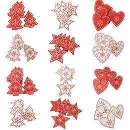 Деревянные рождественские украшения Снежинка печатных красный белый Рождественская елка Звезда сердце колокол форма украшения ручная роспись безделушка деревенский Рождество от