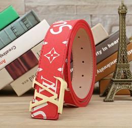 Cinture brand name uomo online-Cintura in pelle di marca di marca Cintura in pelle di lusso LAbrand LA1 in pelle di alta qualità rosso sup famose cinture di design fibbia in metallo ceinture