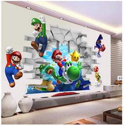 наклейки для стен для спальни Скидка Super Mario Bros Kids Removable Wall Sticker Decals Nursery Home Decor Vinyl Mural for Boy Bedroom Living Room Mural Art