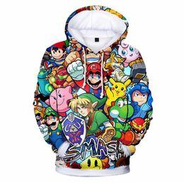 2020 súper sudaderas Super Mario Zelda Sudaderas con capucha impresas en 3D Super Smash Bros Mujeres Hombres Sudadera de manga larga Sudadera Hip Hop Streetwear con capucha súper sudaderas baratos