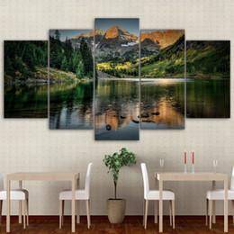 pintura a óleo imagens montanhas Desconto Retratos modulares Casa Quadro de Parede Moderna Cartaz HD Impresso 5 Peças de Arte Da Lona de Colorado Ozero Mountain Decor Pintura A Óleo PENGDA