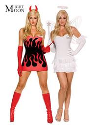 красные костюмы дьявола женщины Скидка MOONIGHT White / Red Реверсивные Обе стороны костюмы Sexy Devil Angel Хеллоуин костюм для взрослых Необычные платья Костюм Косплей для женщин C18111601