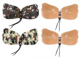 Sutiã de corda on-line-Camuflagem invisível corda Bra Mulheres voar Asas Forma Silicone Push Up Encerramento Frente Fixo mamilo pasta bra pad FFA3040 auto-adesivo