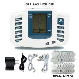 Dez agulhas de estimulador muscular on-line-Estimulador elétrico Corpo Inteiro Relaxar Terapia Muscular Massageador Massagem Pulso dezenas Acupuntura Máquina de Cuidados de Saúde 16 Almofadas