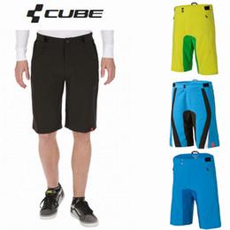 Bicicletta bicchierini cubo online-Cube pantaloncini ciclismo Shorts 4 colori mountain bike Sport uomini Teamline di MTB Downhill Motocross a cavallo pantaloni corti pantaloni bicicletta