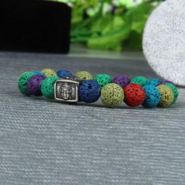 jóias de aço inoxidável de buda Desconto Yoga Jóias Atacado 10 pçs / lote Aço Inoxidável Buddha Frisado Chakras Pulseira Com 10mm Contas de Pedra de Lava Multicolor