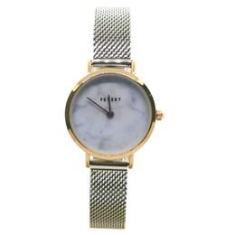 Argentina FEYERT 2019 Dama de las mujeres de moda Fashion Marble Dial Gold Case Japón cuarzo plata acero inoxidable malla cadena correa reloj de pulsera FE-0049 Suministro