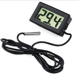 Capteurs électroniques en Ligne-Brand New Mini petit Mini Digital LCD Thermomètre Électronique Combo Capteur Filaire Aquarium Thermomètre Fish Tank avec boîte de vente au détail