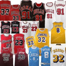 f34b43ce4 Chicago 23 Michael Bulls Malla Retro Dennis 91 Rodman 23 MJ Los Ángeles  Earvin 32 Johnson 8 Kobe Jersey 24 Bryant Basketball Jerseys barato jerseys  kobe