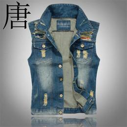 chaleco asiático hombres Rebajas Nueva primavera otoño 2019 Vintage Diseño clásico Casual Denim Vest Men Blue Plus Asian size M-5XL