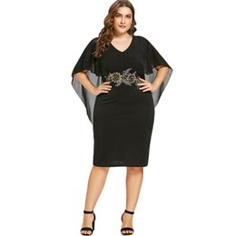 halb lässige kleider Rabatt Kenancy New Plus Size Stickerei Capelet Kleid Semi Sheer V-Ausschnitt Partykleid Halbarm Etuikleider Frauen Casual Vestidos