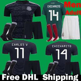 Mexiko fußball uniformen online-2019 Gold Cup Mexiko Fußball Trikots Uniform Set Schwarz 19 20 Männer Männer CHICHARITO LOZANO CARLOS Kits Fußball Kits DHL Schiff