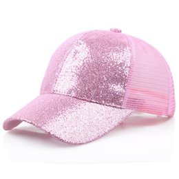 ladies running cap Promo Codes - New Ladies Sports Cap Messy Hair Net Cap Adjustable Sports Running Riding Flash Ponytail Tennis