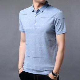 Модная одежда летняя молодежь онлайн-Summer New Youth Mens Striped Lapel Short-sleeved Cotton Polos Mens Casual Compassionate Wild Mens Fashion Clothing