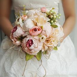 decoração de bola de rosa atacado Desconto Rosa Roxo Peônia Colorido Artificial Flores Bouquets De Noiva Barato Em Estoque Decoração de Casamento Flores Noivas Segurando Flor AL2151