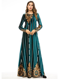 Islamische frauen langarm kleid online-Muslimische Frauen Langarm Samt Druck Robe Dubai Kleid Kleid Maxi Abaya Islamische Frauen Kleidung Robe Kaftan Marokkanischen Vestido