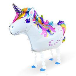 Mascotas globos online-Recién llegado Unicornio Globo Caminar Mascota Globos Fiesta de cumpleaños Adorno Papel de aluminio Bola Niños Regalos para niños Con entrega rápida