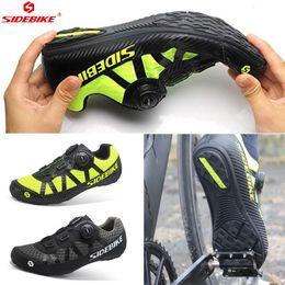 zapatillas de ciclismo nuevas Rebajas SIDEBIKE NUEVOS Zapatos de Ciclismo de Ocio Hombres Pro Team Mountain Road Bike Shoes Caucho Transpirable mtb Bicicleta Desbloqueado 2 colores