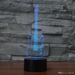 presentes diy da guitarra Desconto Quarto cabeceira criativa guitarra Modelagem Usb Desk Lamp 3D Night Light Led Visão Instrumentos musicais Lampara luminária presente
