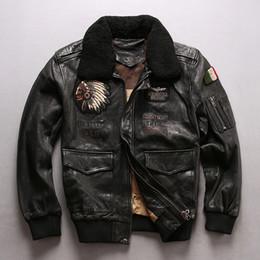 chaquetas de cuero para hombres Rebajas Avirex chaqueta de vuelo cuello de piel chaqueta de cuero real de los hombres con el jefe de invierno elegante bordado hombres de la capa bombardero lether