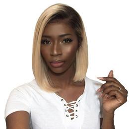Candeggiare parrucche bionde per le donne online-1B 613 Ombre parrucche bionde davanti pizzo per le donne con i capelli diritti dei capelli umani Remy parrucche nodi candeggiati