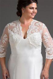 672b296938e 3 4 Long Sleeve Wedding Bolero Jacket Lace Shawl Bridal Jacket Wedding Wrap  Lady Shrug White Ivory Plus Size Bolero Jacket