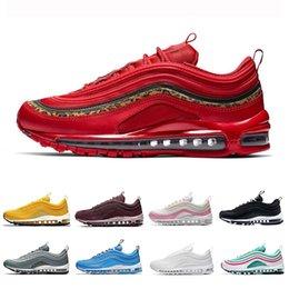 2019 chaussures sur mesure taille 14 Air max 97 shoes  2019 Bright Citron Red Leopard 97 Hommes Femmes Running Chaussures Casual Bleu Hero BOLD PULL TABS Moutarde Bordeaux Crush basket 97