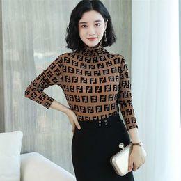 Vintages damenhemdkleid online-Frauen-Frühlings-beiläufige Blusen-Hemden Dame Vintage Letter Print Turtleneck Langarm Blusas Tops Plus size Kleider