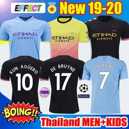 camisetas de fútbol hombre ciudad Rebajas Top de calidad de Tailandia 19 20 MANCHESTER CITY camiseta de fútbol G.JESUS DE BRUYNE KUN AGUERO camisetas 2019 2020 KIT camiseta de KIT de adultos y niños Soccer Jerseys
