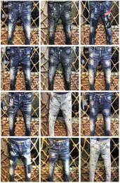 Trous de pantalon en Ligne-Top Qualité Marque De Luxe Designer D2 Hommes Denim Jeans Pantalon De Broderie De Mode Trous Pantalons Italie Taille 44-54