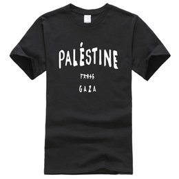 wholesale paris fashion Promo Codes - T-shirt 2019 summer printed Palestine Paris Gaza funny fashion men's T-shirts hip hop sportwear jersey t shirt men homme top
