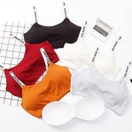 Пояса для кормящих мам онлайн-Женщина Спортивные бюстгальтеры Красота Вернуться Tube Top хлопчатобумажных дном Письмо ремень Vest с Chest Pad Bralette Nursing Bra родильного Brassiere M563